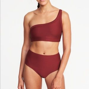 Red One Shoulder 2 Piece Bathing Suit High Waist